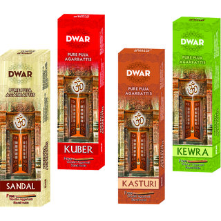 Dwar Agarbatti Combo of 4 Sandal, Kuber, Kasturi, Kewra- 100 Sticks each-With Free Stand in each Pack