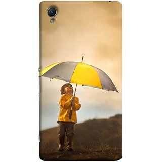 FUSON Designer Back Case Cover For Sony Xperia Z3+ :: Sony Xperia Z3 Plus :: Sony Xperia Z3+ Dual :: Sony Xperia Z3 Plus E6533 E6553 :: Sony Xperia Z4 (Adorable Little Boy Holding Toy Friend And Umbrella)