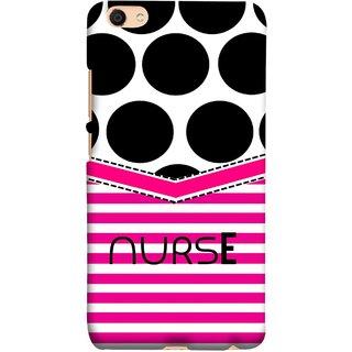 FUSON Designer Back Case Cover For Oppo F3 Plus (Pink Design Paper Big Black Circles Bubbles Nurse Doctor)