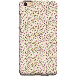 FUSON Designer Back Case Cover For Oppo F3 Plus (Pink Lecien Fabric Pink Blue Flower Green Leaf Tiny )