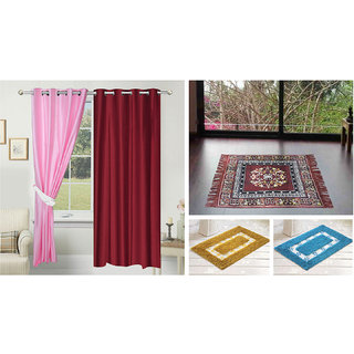 Azaani beautiful solid set of two polyster door curtain with one jute sitting mat and two cotton bathmat(AZ2SOLIDCURTAIN1BROWNSITTINGMAT2BATHMAT-22)