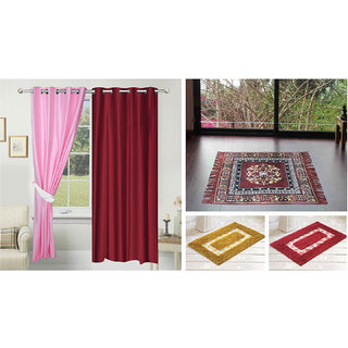 Azaani beautiful solid set of two polyster door curtain with one jute sitting mat and two cotton bathmat(AZ2SOLIDCURTAIN1BROWNSITTINGMAT2BATHMAT-23)