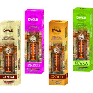 Dwar Agarbatti Combo of 4 Sandal Pink rose Gold Kewra- 100 Sticks each-With Free Stand in each Pack