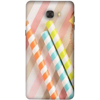 FUSON Designer Back Case Cover For Samsung Galaxy C7 Pro (Paper Plastic Straws Blur Yellow Orange Pink)