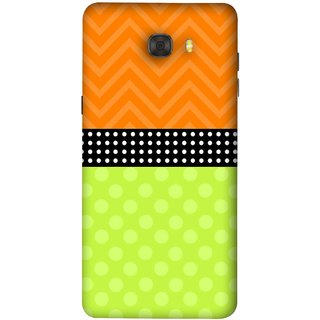 FUSON Designer Back Case Cover For Samsung Galaxy C7 Pro (Pack Craft Paper White Dots On Black Background)
