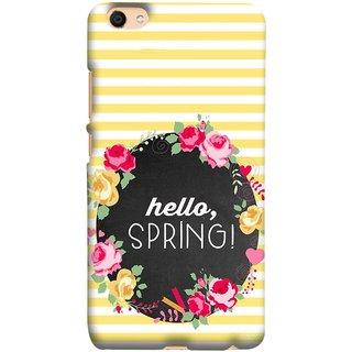 FUSON Designer Back Case Cover For Oppo F3 Plus (Flowers Cake White And Yellow Horizontal Strips )