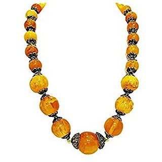 muccasacra Forever orange N Yellow Shade Stone Necklace Length- 10 inch