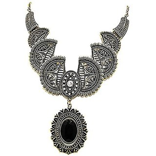 muccasacra Bohemian style with Blackstone pendent Enamel Plated Stone, Alloy Necklace Length 13 Inch