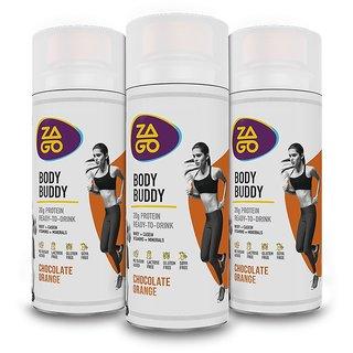 Zago Body Buddy Chocolate Orange 20g Protein drink (Pack of 3 bottles 330ml)