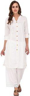 B Online Mart White Colour Cotton Stitched Kurti- BO272KWhite