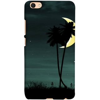 FUSON Designer Back Case Cover For Oppo F3 Plus (Coconut Trees Beautiful Moon Stars Light Evening )