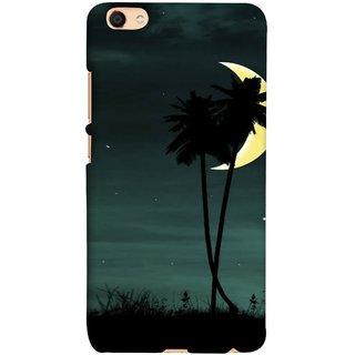 FUSON Designer Back Case Cover For Oppo F3 Plus (Coconut Trees Beautiful Moon Stars Light Evening )