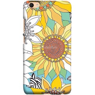 FUSON Designer Back Case Cover For Oppo F3 Plus (Sunflowers Flowers Green Grass Beautiful Painting Canvas)