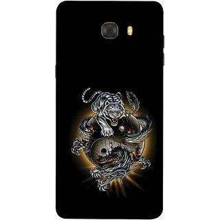 FUSON Designer Back Case Cover For Samsung Galaxy C7 Pro (Beautiful Graffiti Lion Tiger Wallpaper Chinese )