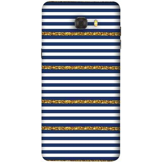 FUSON Designer Back Case Cover For Samsung Galaxy C7 Pro (Spacing Golden Canvas Painting Ceramic Tiles)