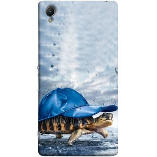 FUSON Designer Back Case Cover For Sony Xperia Z3+ :: Sony Xperia Z3 Plus :: Sony Xperia Z3+ Dual :: Sony Xperia Z3 Plus E6533 E6553 :: Sony Xperia Z4 (Cute Tortoise Turtle Wearing A Party Hat Water Drops)