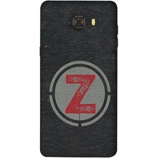 FUSON Designer Back Case Cover For Samsung Galaxy C7 Pro (Dark Alphabet Circle Vintage Grey Circle Pattern Z)