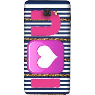 FUSON Designer Back Case Cover For Samsung Galaxy C7 Pro (I Love Prem Pyar Lovers Pink Red Hearts Horizontal)