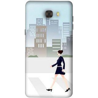 FUSON Designer Back Case Cover For Samsung Galaxy C7 Pro (Morden Girl Building Blue Outfit Purse Zebra Cross)