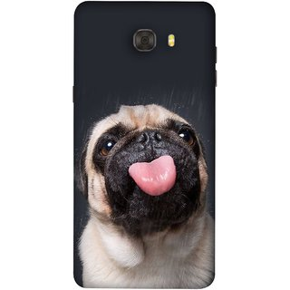 FUSON Designer Back Case Cover For Samsung Galaxy C7 Pro (Kissing Hanging Out Black And White Cream Colour)