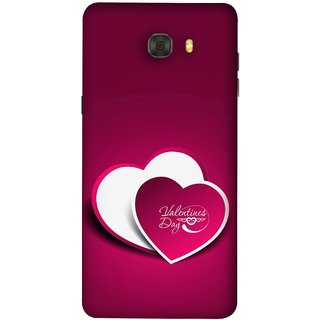 FUSON Designer Back Case Cover For Samsung Galaxy C7 Pro (Just Pinky Say Always I Love You Red Hearts Couples)