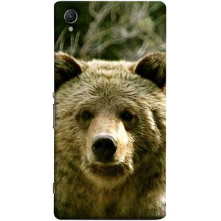 FUSON Designer Back Case Cover For Sony Xperia Z3+ :: Sony Xperia Z3 Plus :: Sony Xperia Z3+ Dual :: Sony Xperia Z3 Plus E6533 E6553 :: Sony Xperia Z4 (Bhalu Looking At You Animal Forest Green Background)