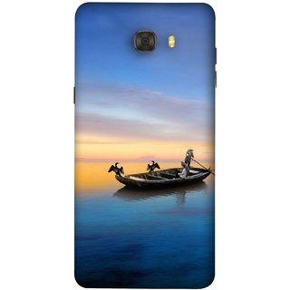 FUSON Designer Back Case Cover For Samsung Galaxy C7 Pro (Water Sea Sky Beautiful Boat Cruise Horizon )