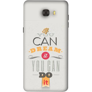 FUSON Designer Back Case Cover For Samsung Galaxy C7 Pro (White Background Inspiration Quote Red Orange Font )