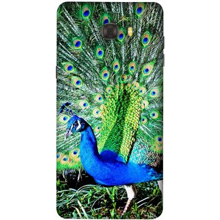 FUSON Designer Back Case Cover For Samsung Galaxy C7 Pro (Nice Colourful Long Attract His Mate Peacock Feathers Beak)