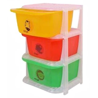 Kuber Industries Storage Drawers Basket for Kitchen/Office/Children/Toy With 3 Drawer in Moduler Design (Multiple usages)