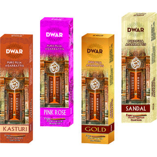 Dwar Agarbatti Combo of 3 Kasturi, Pink rose, Gold, Sandal- 100 Sticks each-With Free Stand in each Pack