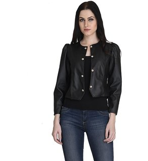 Black Rexine Jacket With Button