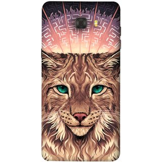 FUSON Designer Back Case Cover For Samsung Galaxy C7 Pro (Green Ankho Wali Billi Cats Sunshine Concentrate)