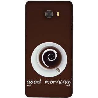 FUSON Designer Back Case Cover For Samsung Galaxy C7 Pro (Good Morning Afternoon Evening Coffee Tea Cream )