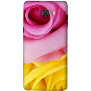 FUSON Designer Back Case Cover For Samsung Galaxy C7 Pro (Pink Red Baby Yellow Shades Friendship Flowers Roses)