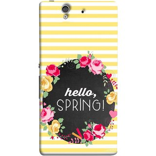 FUSON Designer Back Case Cover For Sony Xperia Z :: Sony Xperia ZC6603 :: Sony Xperia Z L36h C6602 :: Sony Xperia Z LTE, Sony Xperia Z HSPA+ (Flowers Cake White And Yellow Horizontal Strips )