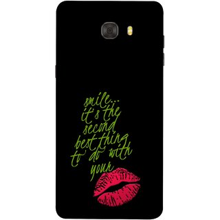 FUSON Designer Back Case Cover For Samsung Galaxy C7 Pro (To Do With Your Lips Kisses Kiss Lovers Couples)