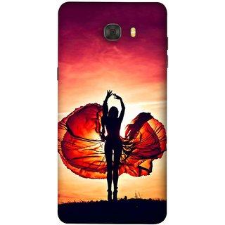 FUSON Designer Back Case Cover For Samsung Galaxy C7 Pro (Beautiful Female Dancer Silhouette In The Sun )