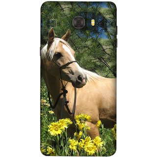 FUSON Designer Back Case Cover For Samsung Galaxy C7 Pro (Pony Field Coffee Colour Horse Strong Walking )