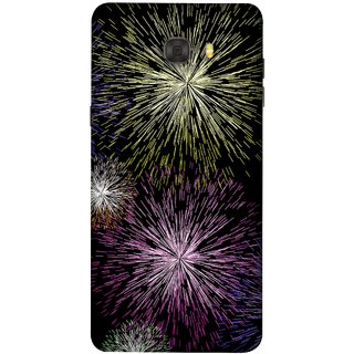 FUSON Designer Back Case Cover For Samsung Galaxy C7 Pro (Dark Night Fireworks Diwali Dipawali Flowers )