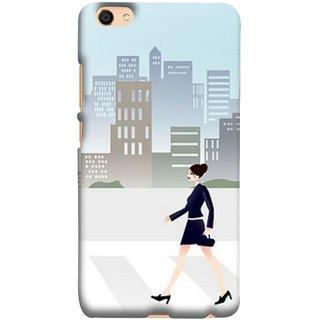 FUSON Designer Back Case Cover For Oppo F3 Plus (Morden Girl Building Blue Outfit Purse Zebra Cross)