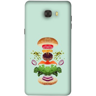 FUSON Designer Back Case Cover For Samsung Galaxy C7 Pro (Flying Burger Ingredients Onion Cheese Tomatos )