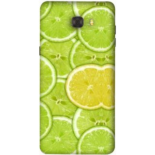 FUSON Designer Back Case Cover For Samsung Galaxy C7 Pro (Lemon Lime Sweet Agriculture Farm Fresh Cut Cell)