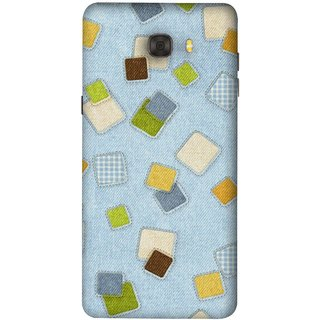 FUSON Designer Back Case Cover For Samsung Galaxy C7 Pro (Lot Colours Squares Patch Tiles Brown White Checks )