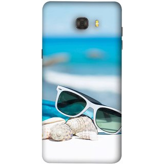 FUSON Designer Back Case Cover For Samsung Galaxy C7 Pro (Summer Vacation Beach Mobile Wallpaper Blue Sky )