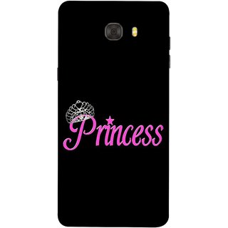 FUSON Designer Back Case Cover For Samsung Galaxy C7 Pro (Silver Crown Of Princess Prince King Baby Pink)