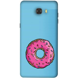 FUSON Designer Back Case Cover For Samsung Galaxy C7 Pro (Cute Food Strawberry Sprinkle Donut Mini Painting)