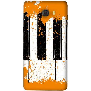 FUSON Designer Back Case Cover For Samsung Galaxy C7 Pro (Black And White Colour Splash Droplets Music )