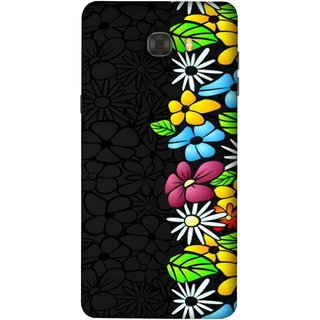 FUSON Designer Back Case Cover For Samsung Galaxy C9 Pro (Multicolour Flowers Phul Gray Geen Leaves Beautiful)