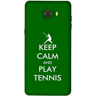 FUSON Designer Back Case Cover For Samsung Galaxy C7 Pro (Tennis Player Logo Keep Silent And Cool Game On)